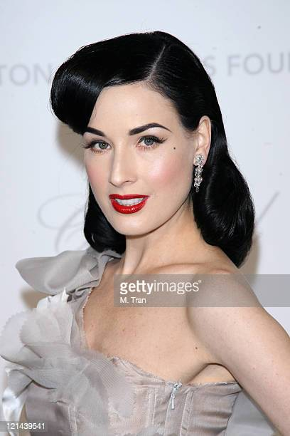 Dita Von Teese during 15th Annual Elton John AIDS Foundation Oscar Party at Pacific Design Center in Los Angeles California United States