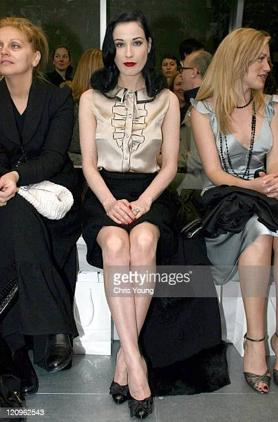 Dita Von Teese during London Fashion Week Autumn/Winter 2006 Giles Front Row at Victoria House in London Great Britain