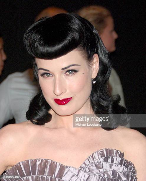 Dita Von Teese during Olympus Fashion Week Spring 2007 Marc Jacobs Arrivals at New York State Armory in New York City New York United States