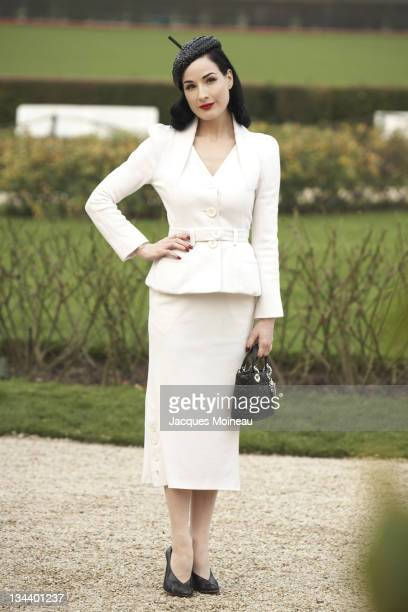Dita Von Teese during Paris Fashion Week Haute Couture Spring/Summer 2007 Christian Dior Arrivals at Bois de Boulogne in Paris France