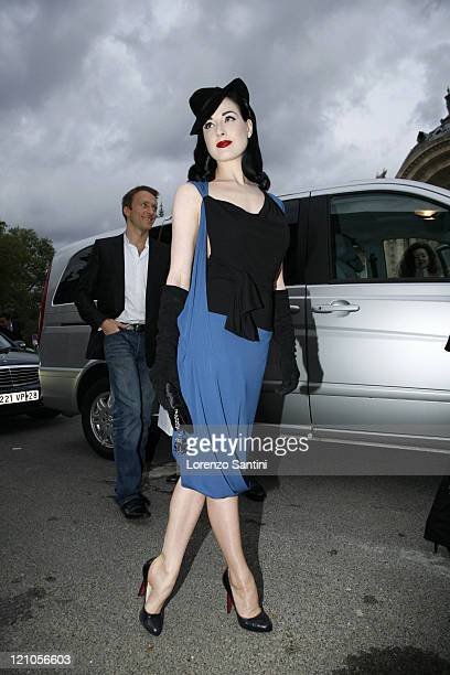 Dita Von Teese during Paris Fashion Week Spring/Summer 2007 Christian Dior Arrivals in Paris France
