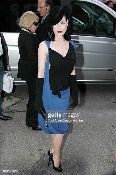 Dita Von Teese during Paris Fashion Week Spring/Summer 2007 Dior Front Row at Grand Palais in Paris France