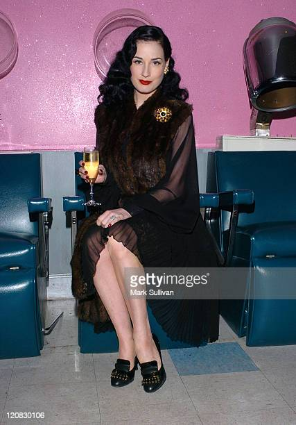 Dita Von Teese during The Beauty Bar 5th Anniversary and Fashion Week Finale Party hosted by Dita Von Teese and Rose ApodacaJones at The Beauty Bar...