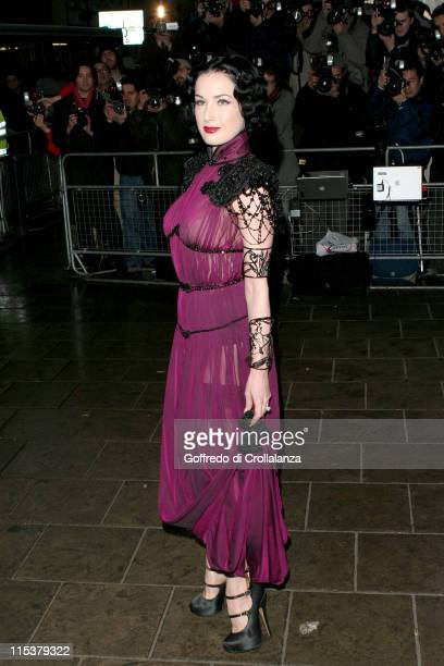 Dita Von Teese during The Shockwaves NME Awards 2005 Arrivals at Hammersmith Palais in London Great Britain
