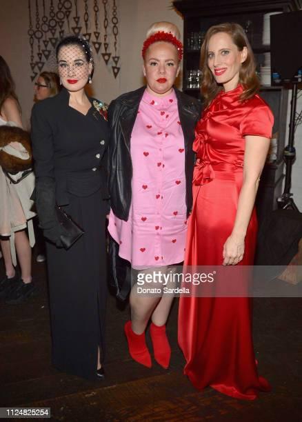 Dita Von Teese Genevieve Gaignard and Liz Goldwyn attend Liz Goldwyn and MATCHESFASHIONCOM celebrate the launch of Frieze LA at Gracias Madre on...