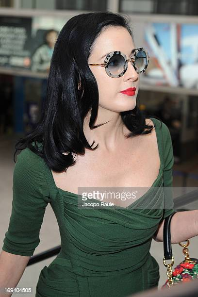 Dita Von Teese is seen arriving at Nice airport dueing The 66th Annual Cannes Film Festival on May 24 2013 in Nice France