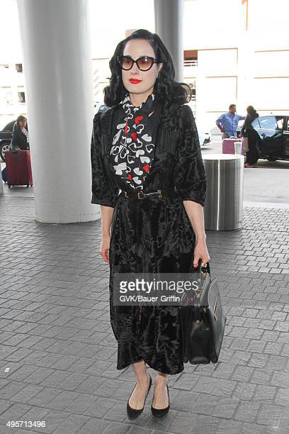 Dita Von Teese is seen at LAX on November 04 2015 in Los Angeles California