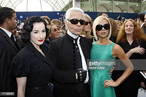 Dita von Teese Karl Lagerfeld and Victoria Beckham attend the Chanel fashion show during the Spring/Summer 2008 readytowear collection show at Grand...