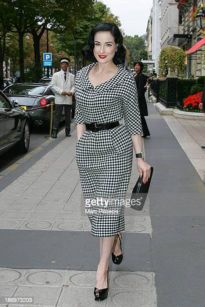 Dita von Teese leaves the 'Plaza Athenee' hotel on September 17 2007 in Paris France