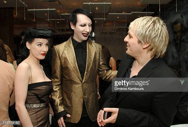 Dita von Teese Marilyn Manson and Nick Rhodes during Opening of MR CHOW Tribeca at Mr Chow in New York City New York United States