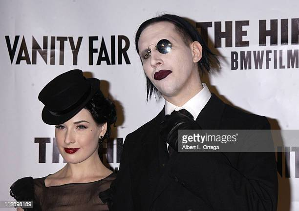 Dita Von Teese Marilyn Manson during 'The Hire' Premiere at ArcLight Cinemas in Hollywood California United States