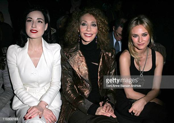 Dita Von Teese Marisa Berenson and Diane Kruger during Paris Fashion Week Haute Couture Spring/Summer 2007 Christian Dior Front Row at Paris in Paris...