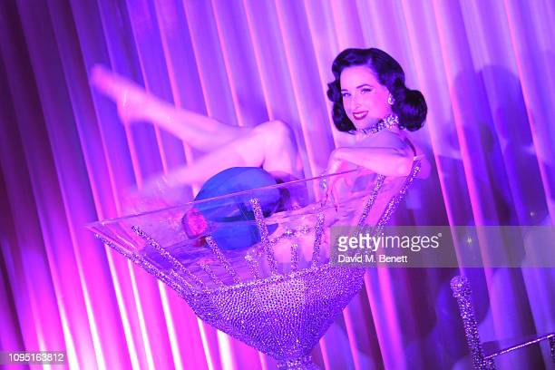 Dita Von Teese performs at the launch of YOPO the new dining experience at The Mandrake Hotel on February 7 2019 in London England