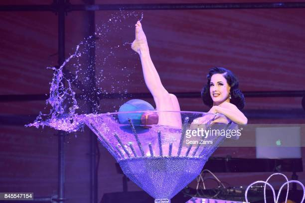 Dita Von Teese performs at the Philipp Plein fashion show during New York fashion week at Hammerstein Ballroom on September 9 2017 in New York City