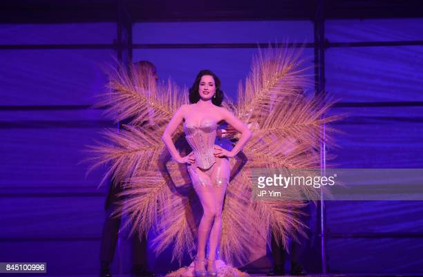 Dita Von Teese performs at the runway at the Philipp Plein fashion show during New York Fashion Week: The Shows at Hammerstein Ballroom on September...