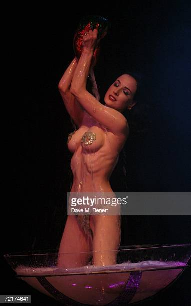 Dita Von Teese performs her first burlesque show for UK fans at KOKO Club on October 15 2006 in London England