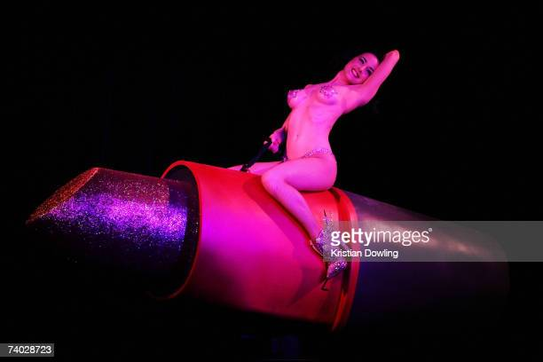 Dita Von Teese performs her 'Lipteese' routine at the Museum of Contemporary Art on April 30 2007 in Sydney Australia