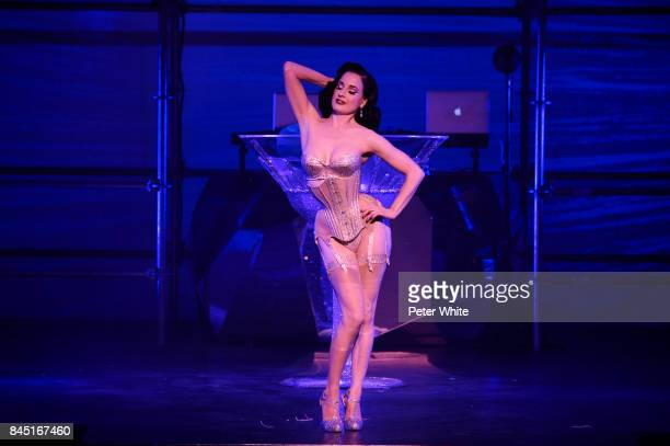 Dita Von Teese performs on stage for the Philipp Plein Spring 2018 show during New York Fashion Week at Hammerstein Ballroom on September 9, 2017 in...