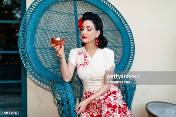 Dita Von Teese photographed during a cocktail party to celebrate her official app at the private residence of Absolut Elyx CEO Jonas Tahlin at a...