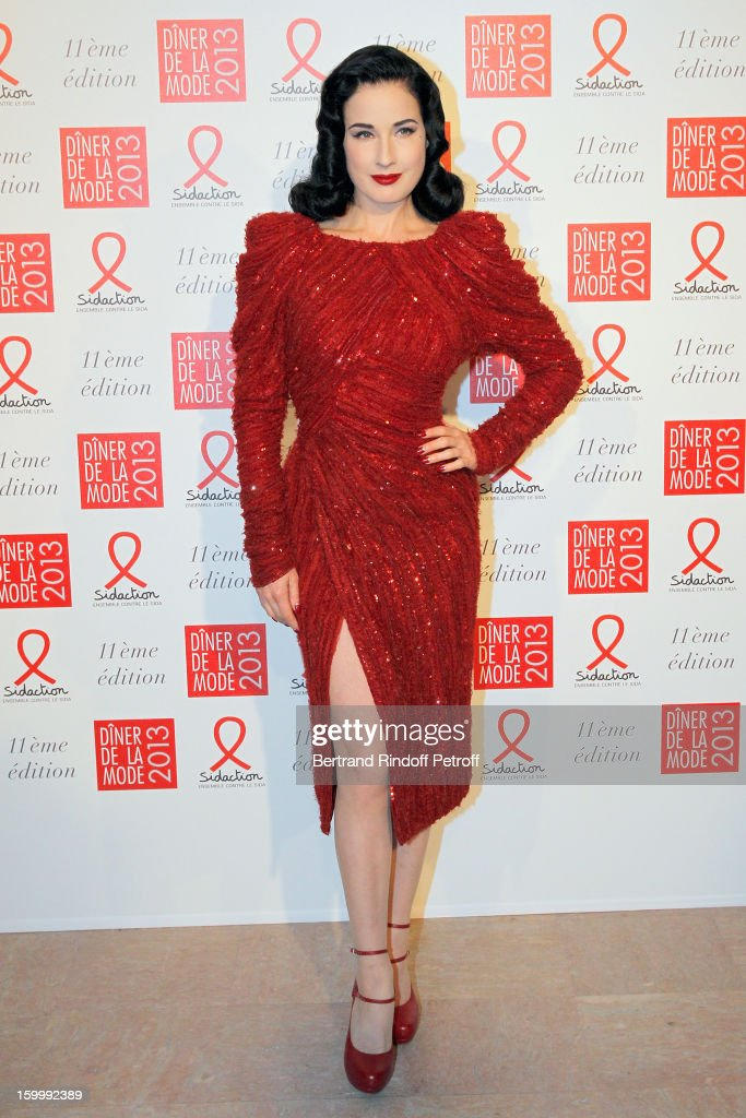 Dita Von Teese poses as she arrives to attend the Sidaction Gala Dinner 2013 at Pavillon d'Armenonville on January 24, 2013 in Paris, France.
