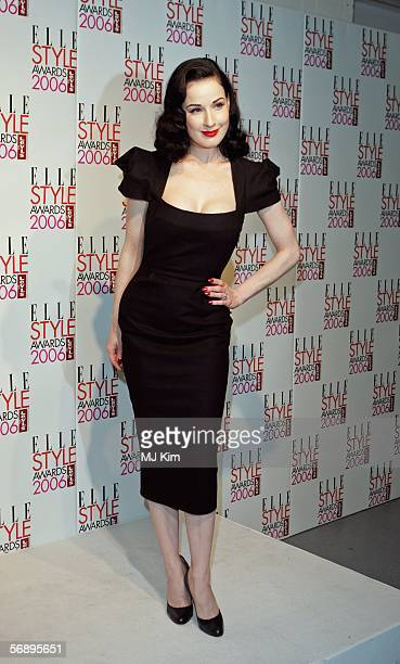 Dita Von Teese poses backstage in the Awards Room at the ELLE Style Awards 2006 the fashion magazine's annual awards celebrating style at the...