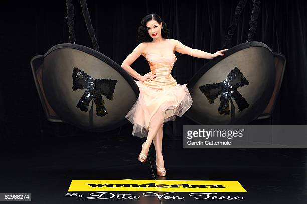 Dita Von Teese poses in a giant bra to launch the new Wonderbra by Dita Von Teese collection on September 23, 2008 in London, England.