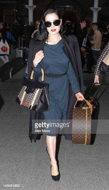 Dita Von Teese seen arriving from Paris on April 30 2012 in London England
