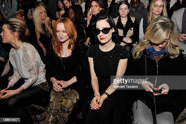 Dita Von Teese seen in the front row at the Jenny Packham Fall 2012 fashion show during MercedesBenz Fashion Week at the The Studio at Lincoln Center...