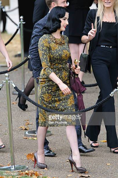 Dita Von Teese sighted arriving at the Burberry Prorsum catwalk show during London Fashion Week S/S 2013 on September 17 2012 in London England