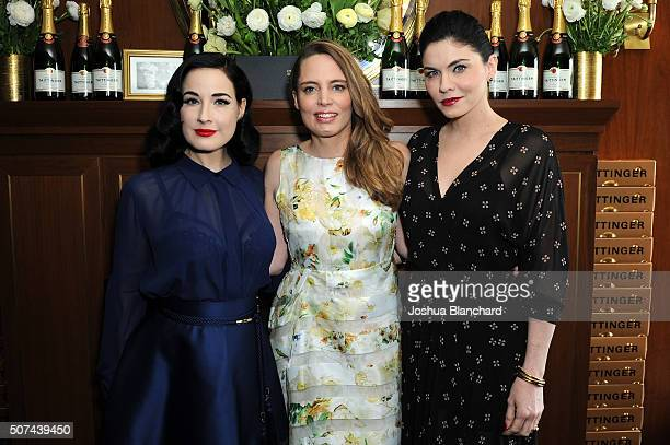 Dita Von Teese Vitalie Taittinger and Jodi Lyn O'Keefe attend the Champagne Taittinger ANGELENO Celebrate Entrepreneurial Women In Hollywood at...