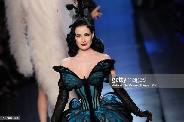 Dita Von Teese walks the runway during Jean Paul Gaultier show as part of Paris Fashion Week Haute Couture Spring/Summer 2014 on January 22 2014 in...