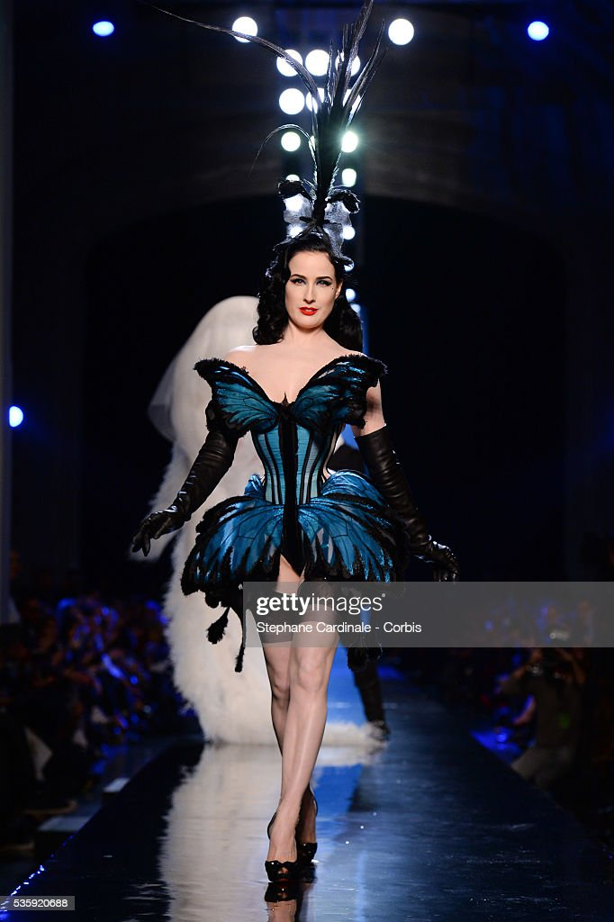 Dita Von Teese walks the runway during Jean Paul Gaultier show as part of Paris Fashion Week Haute Couture Spring/Summer 2014, in Paris.