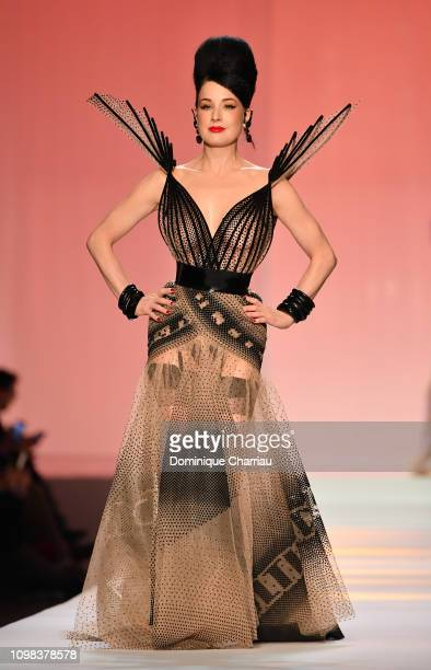 Dita Von Teese walks the runway during the JeanPaul Gaultier Haute Couture Spring Summer 2019 show as part of Paris Fashion Week on January 23 2019...