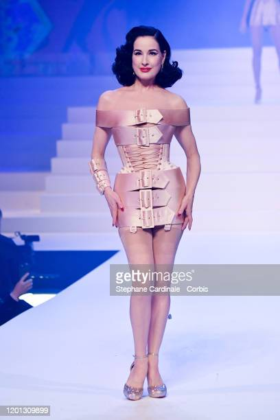 Dita Von Teese walks the runway during the Jean-Paul Gaultier Haute Couture Spring/Summer 2020 show as part of Paris Fashion Week at Theatre Du...