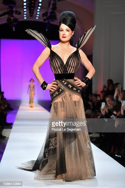 Dita Von Teese walks the runway during the JeanPaul Gaultier Spring Summer 2019 show as part of Paris Fashion Week on January 23 2019 in Paris France