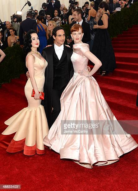 "Dita Von Teese, Zac Posen and Karen Elson attend the ""Charles James: Beyond Fashion"" Costume Institute Gala at the Metropolitan Museum of Art on May..."