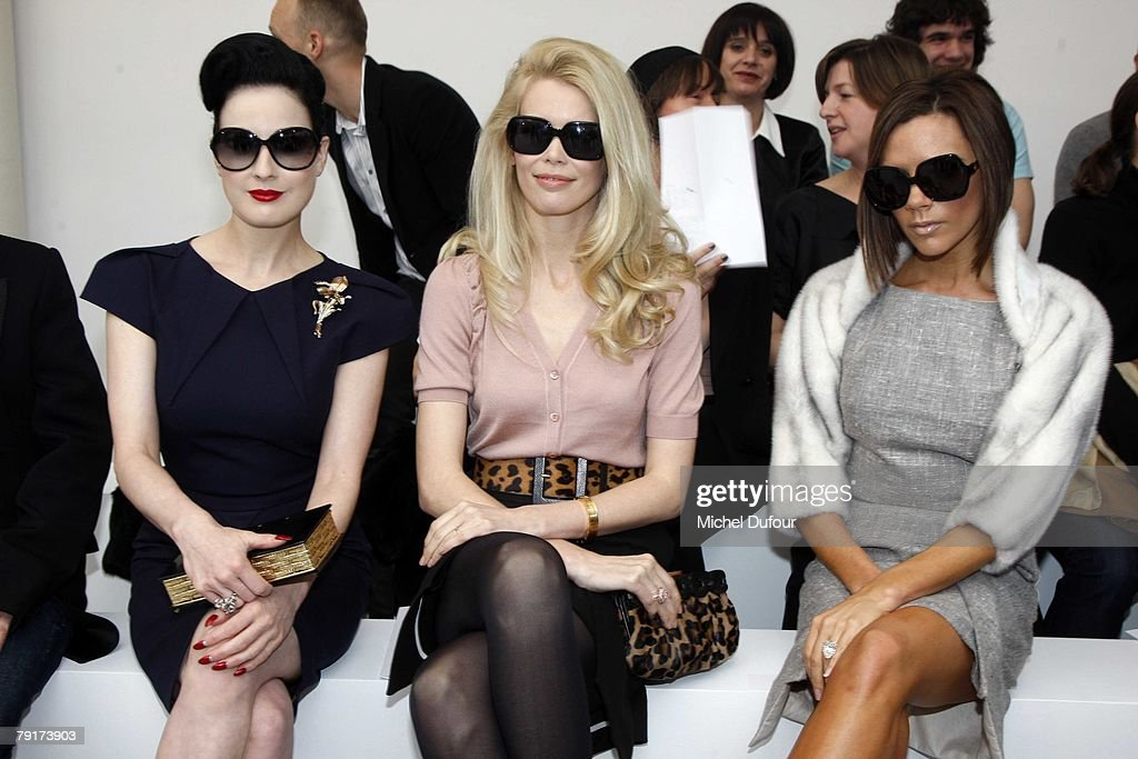 Dita von Teese,Claudia Schiffer and Victoria Beckham attends the Roland Mouret Fashion show, during Paris Fashion Week (Haute Couture) Spring-Summer 2008 on January 23th, 2008 in Paris, France.