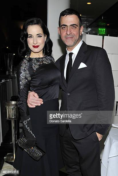 Dita Von Tesee and designer Antonio Berardi attend Private Antonio Berardi Dinner on January 7 2014 in Beverly Hills California