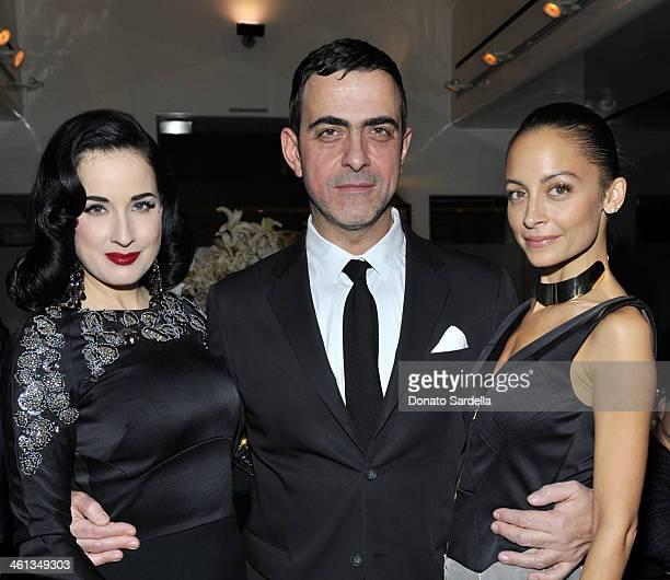 Dita Von Tesee designer Antonio Berardi and Nicole Richie attend Private Antonio Berardi Dinner on January 7 2014 in Beverly Hills California