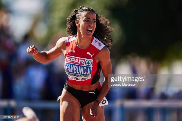Ditaji Kambundji of Switzerland competes in the Women's 100m Hurdles Final during European Athletics U20 Championships Day 3 at Kadriorg Stadium on...