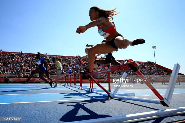 Ditaji Kambundji of Switzerland competes in WWomen's 100m Hurdles Stage 2 Heat 1 during day 8 of Buenos Aires 2018 Youth Olympic Games at Youth...