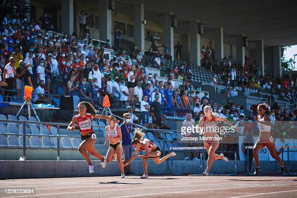 Ditaji Kambundji of Switzerland finishes first in the Women's 100m Hurdles Final during European Athletics U20 Championships Day 3 at Kadriorg...
