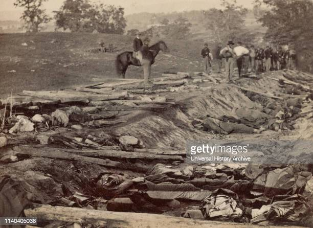 Ditch, called 'Bloody Lane', with Bodies of Dead Confederate Soldiers Lay Awaiting Burial during Battle of Antietam, Alexander Gardner, September 19,...