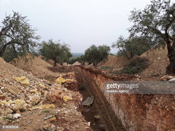 A ditch which was dug by PYD/PKK terrorists is seen at the region after Turkish Armed Forces and Free Syrian Army cleared Nisriyye village of Afrin...