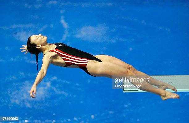Ditte Kotzian of Germany in action during the German Championships women's 3 Metres springboard competition at the Springhalle Europapark on February...
