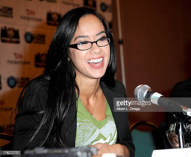 Diva AJ Lee attends Day 3 of Wizard World Chicago Comic Con 2013 held at the Donald E Stephens Convention Center on August 11 2013 in Rosemont...