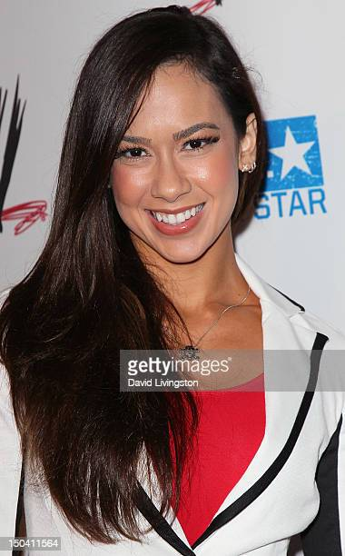 Diva AJ Lee attends the WWE and The Creative Coalition's SummerSlam Kickoff Party at the Beverly Hills Hotel on August 16 2012 in Beverly Hills...