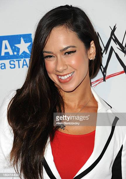 Diva AJ Lee attends the WWE Summerslam kick off party at The Beverly Hills Hotel on August 16 2012 in Beverly Hills California