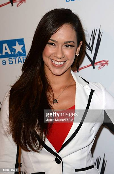Diva AJ Lee attends the WWE SummerSlam VIP KickOff Party at Beverly Hills Hotel on August 16 2012 in Beverly Hills California