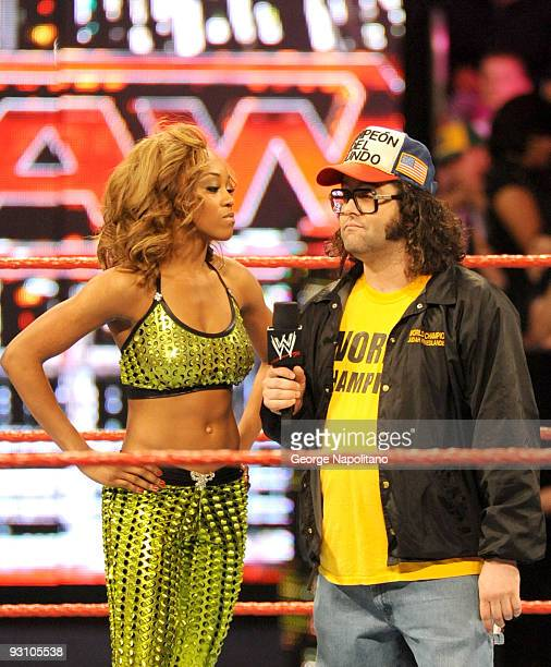 WWE diva Alicia Fox and actor/comedian Judah Friedlande at WWE Monday Night Raw at Madison Square Garden on November 16 2009 in New York City